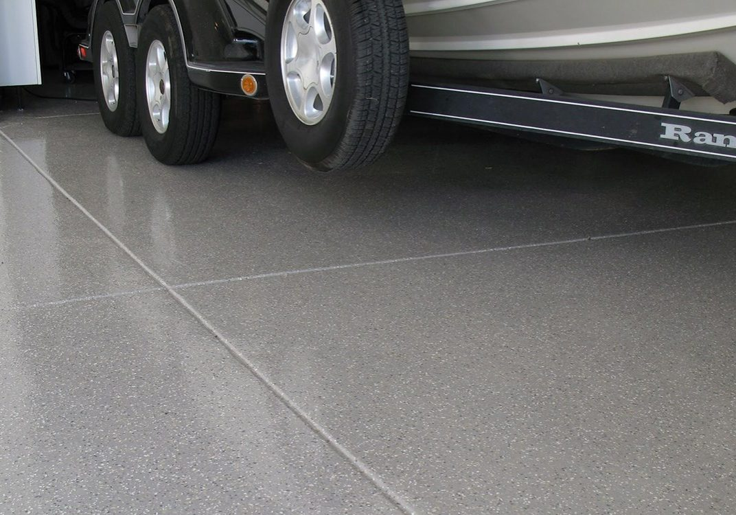 garage with tiled flooring