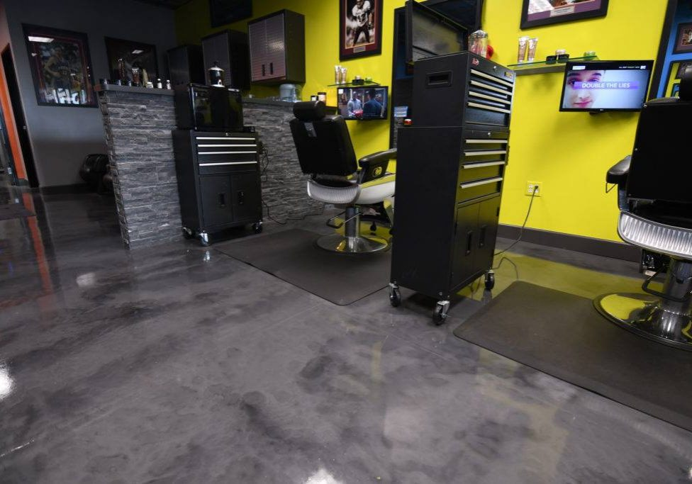 a shop with resin flooring